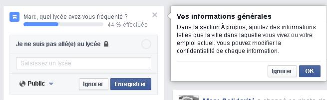 Vos informations personnelles sur Facebook