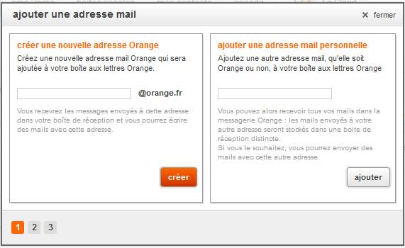 menu nouvelle adresse orange