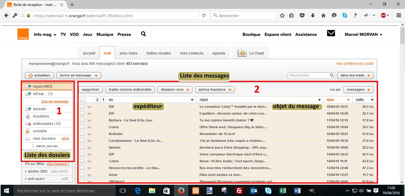 Présentation générale de la messagerie Orange | Coursinfo.fr  Présentation g...