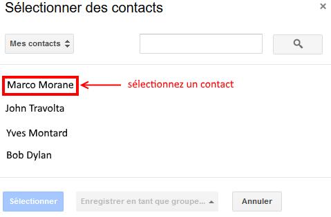 Gmail boite de selection des contacts