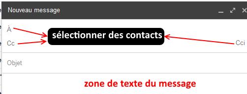 Gmail sélectionner des contacts dans un message