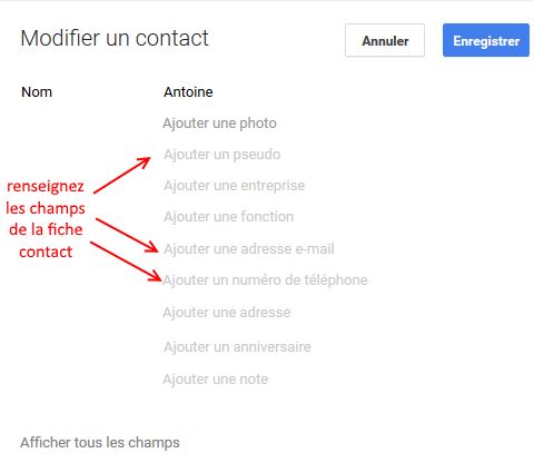 Gmail : fiche contact