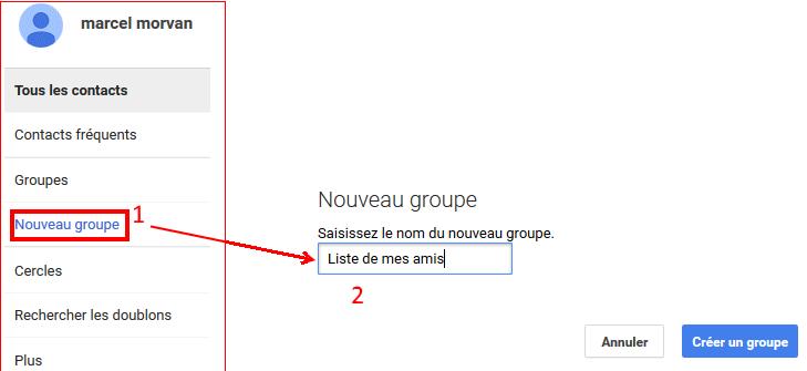 Gmail groupe de contacts