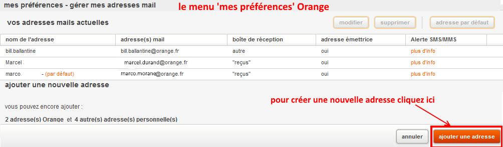 orange mail menu mes préférences