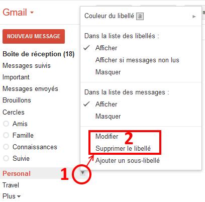 gmail modifier ou supprimer un dossier de messagerie