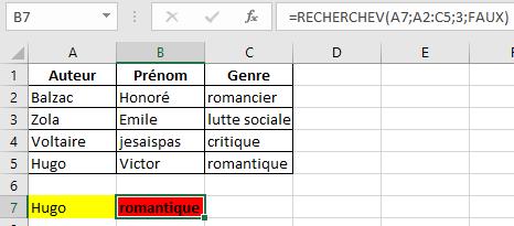 Excel exemple de la fonction RechercheV