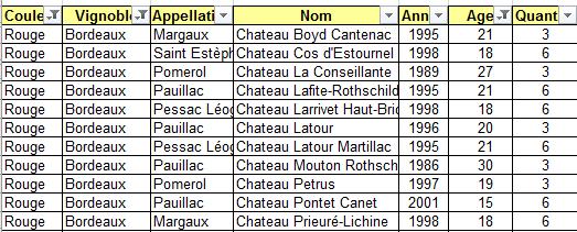 exemple filtres Excel sur cave a vin