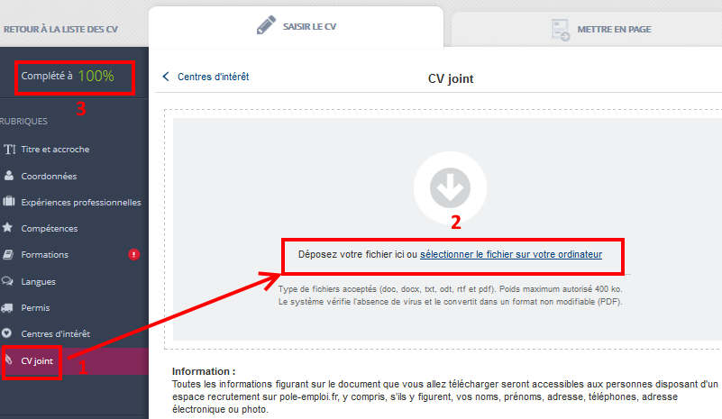 mettre en ligne cv pole emploi Rédiger un CV en ligne sur Pôle Emploi | Coursinfo.fr mettre en ligne cv pole emploi