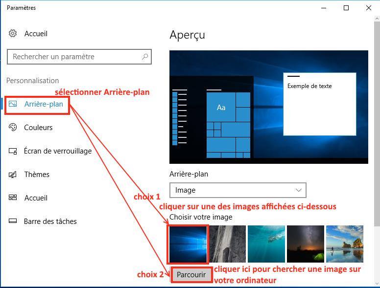 comment changer l'image d'arrière-plan du bureau windows ?