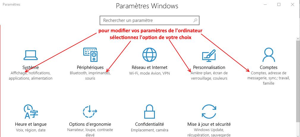comment accèder au menu paramètres Windows ?