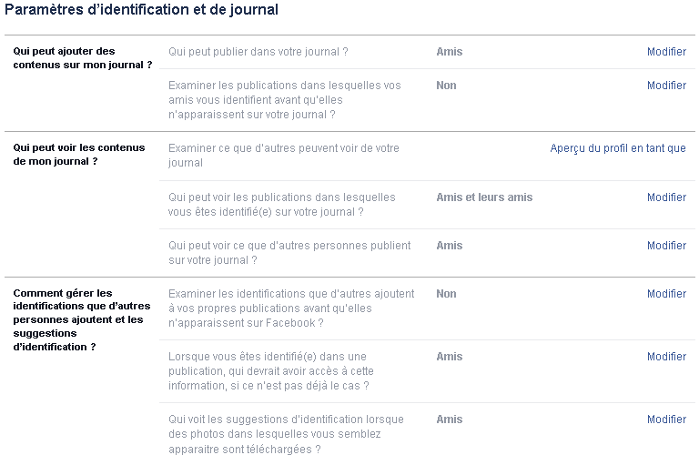 Facebook gestion de l'identification