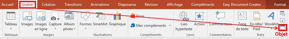 Powerpoint insérer un fichier excel
