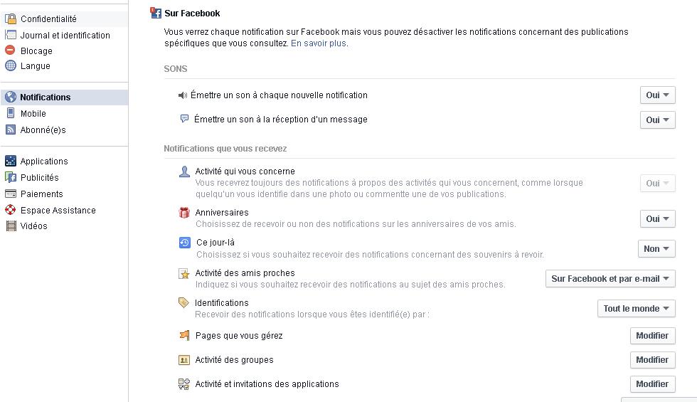 Facebook les notifications