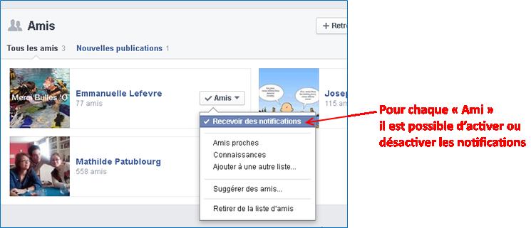 Pour chaque « Ami » il est possible d'activer ou désactiver les notifications