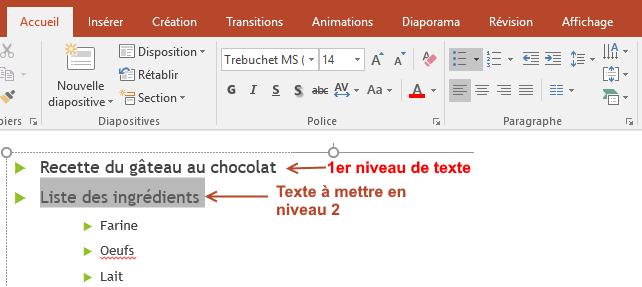 Powerpoint gestion des retratis de texte