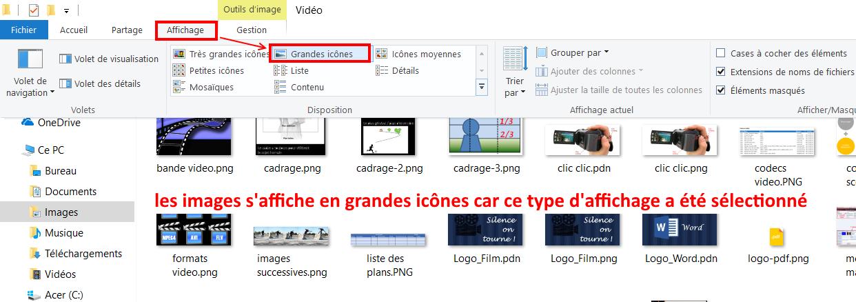 l'explorateur de fichiers Windows