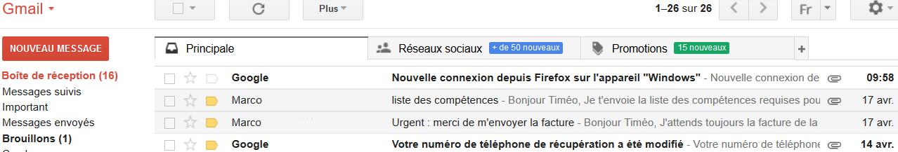 écran de messagerie Gmail