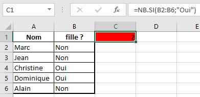fonction NB.SI d'Excel