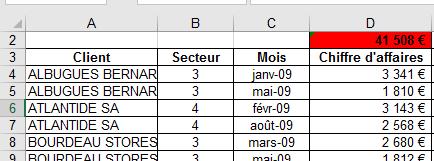 Excel exemple fonction SOUS.TOTAL