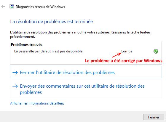 réparer problèmes d'accès Internet sur Windows