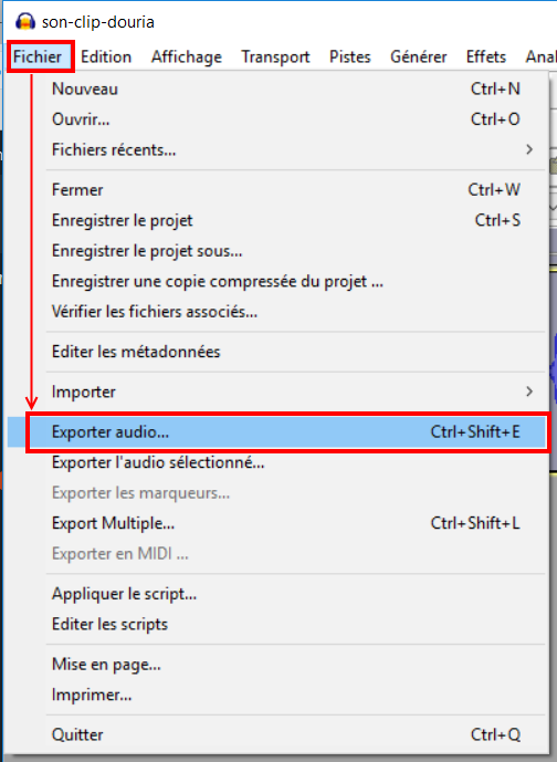exporter en mp3